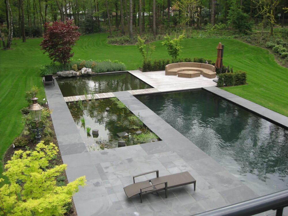 zwembad terras leisteen
